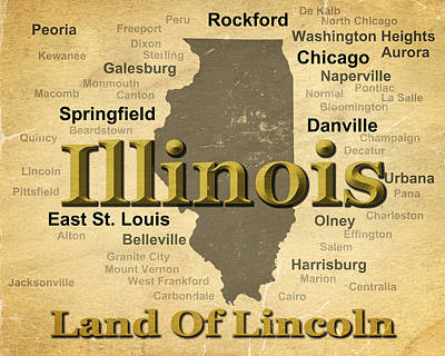 Sterling Digital Art - Aged Illinois State Pride Map Silhouette  by Keith Webber Jr