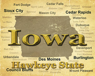 Aged Iowa State Pride Map Silhouette  Print by Keith Webber Jr