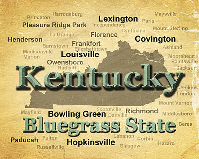 Sterling Digital Art - Aged Kentucky State Pride Map Silhouette  by Keith Webber Jr