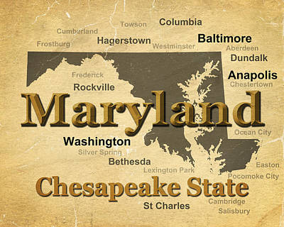 Rockville Photograph - Aged Maryland State Pride Map Silhouette  by Keith Webber Jr