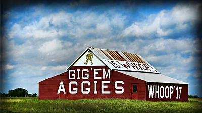 Aggie Barn 3 - Gig Em Print by Stephen Stookey