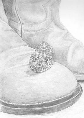 Texas A Drawing - Aggie Rings by Michael Penny