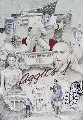 Texas A Drawing - Aggies by Richard Johns