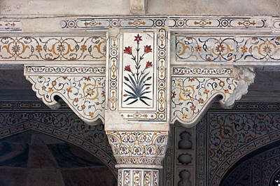 Inlay Photograph - Agra, India Pietra Dura Stonework by Charles O. Cecil