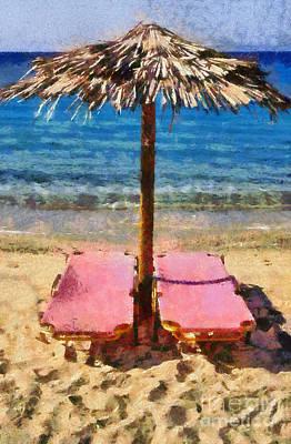 Parasol Painting - Agrari Beach In Mykonos Island by George Atsametakis