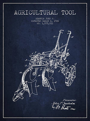 Plow Drawing - Agricultural Tool Patent From 1926 - Navy Blue by Aged Pixel