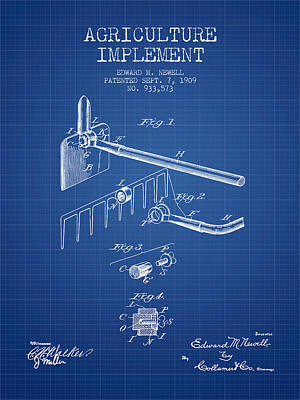 Agriculture Implement Patent From 1909 - Blueprint Print by Aged Pixel