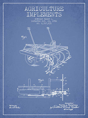 Farmer Digital Art - Agriculture Implements Patent From 1956 - Light Blue by Aged Pixel