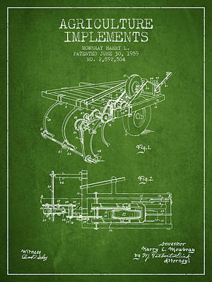 Agriculture Implements Patent From 1959 - Green Print by Aged Pixel
