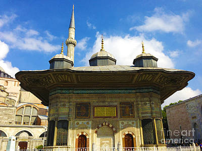Ahmet II Fountain Next To Topkapi Palace Main Entry With A Minaret Of Hagia Sophia Palace Istanbul  Print by Ralph A  Ledergerber-Photography