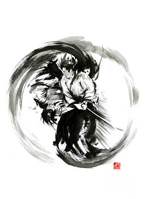 Black And White Painting - Aikido Techniques Martial Arts Sumi-e Black White Round Circle Design Yin Yang Ink Painting Watercol by Mariusz Szmerdt