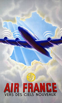 Signed Poster Drawing - Air France by Mountain Dreams