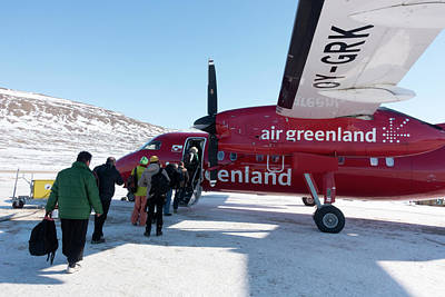 Air Greenland Aeroplane Print by Louise Murray