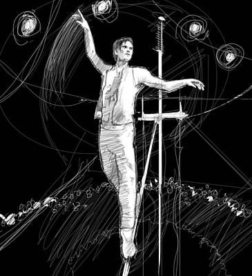 Tightrope Drawing - Air by H James Hoff