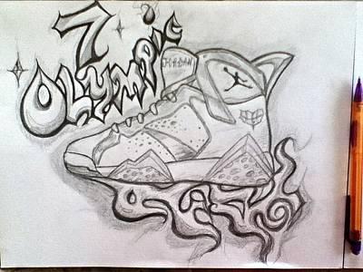 Tennis Shoe Drawing - Air Jordan 7 by Alexander Wood