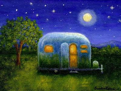Silver Moonlight Painting - Airstream Camper Under The Stars by Sandra Estes