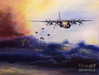 Air Force Painting - Airborne Jump by Stephen Roberson