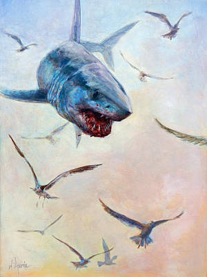 Shark Painting - Airborne by Tom Dauria