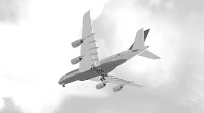 Airliners Mixed Media - Airbus 380 - Grey by Marcello Cicchini