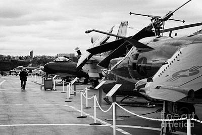 Aircraft In A Line On The Flight Deck Of The Uss Intrepid At The Intrepid Sea Air Space Museum Usa Print by Joe Fox