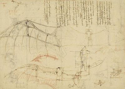 Da Vinci Reproductions Drawing - Aircraft Machine Has Been Reduced To Simplest Shape Wings Directly Put On Human Body By Straps  by Leonardo Da Vinci