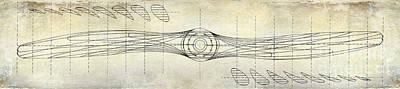 Aircraft Propeller Blueprint Drawing Print by Jon Neidert