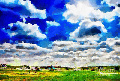 Airdrome Painting Print by Magomed Magomedagaev