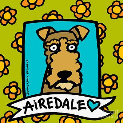 Pet Portraits Digital Art - Airedale Love by Anne Leuck Feldhaus