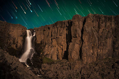 Airglow Star Trails Over North Clear Creek Falls Print by Mike Berenson