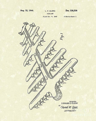 1944 Drawing - Airplane 1944 Patent Art by Prior Art Design