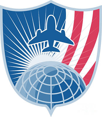 Passenger Plane Digital Art - Airplane Jet Plane World Shield by Aloysius Patrimonio