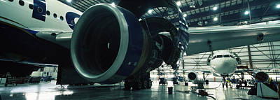 International Airport Photograph - Airplanes In A Hangar, Mirabel Airport by Panoramic Images