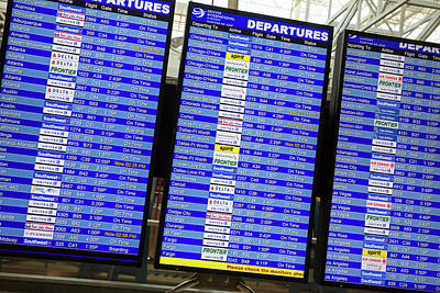 Airport Departures Board Print by Jim West