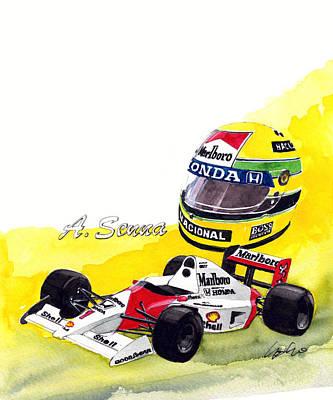 Honda Painting - Airton Senna by Yoshiharu Miyakawa