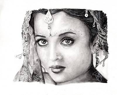 Markle Drawing - Aishwarya Rai by Rosalinda Markle
