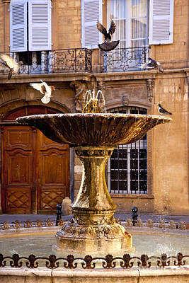 Europe Provence Aix-en-provence Photograph - Aix Fountain Bird Bath by Brian Jannsen
