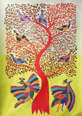 Gond Tribal Art Painting - Aks 04 by Anand Kumar Shyam