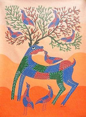 Gond Tribal Art Painting - Aks 05 by Anand Kumar Shyam