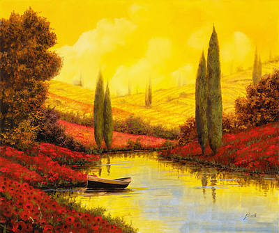Yellow Stream Print featuring the painting Al Tramonto Sul Torrente by Guido Borelli