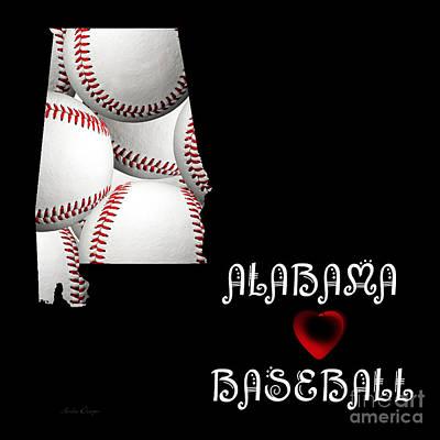 Baseball Digital Art - Alabama Loves Baseball by Andee Design