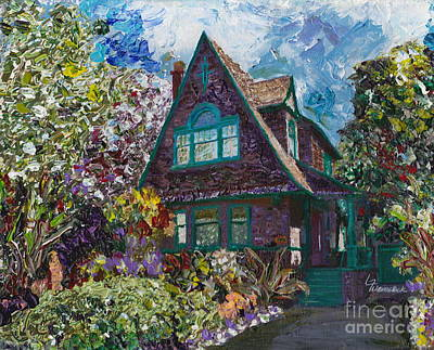 Alameda 1907 Traditional Pitched Gable - Colonial Revival Print by Linda Weinstock