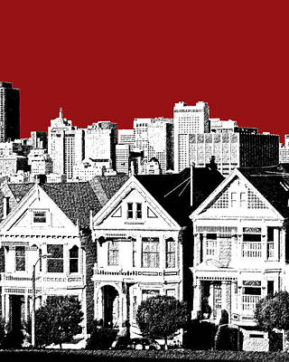 San Francisco Skyline Alamo Square - Dk Red Print by DB Artist