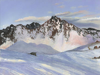 Winter Scenes Painting - Alamoots Winter Mountains by Cecilia Brendel