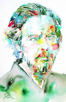 Alan Watts Watercolor Portrait Print by Fabrizio Cassetta