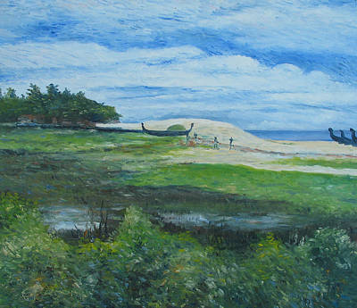 Painting - Alappuzha Beach Kerala India  by Enver Larney