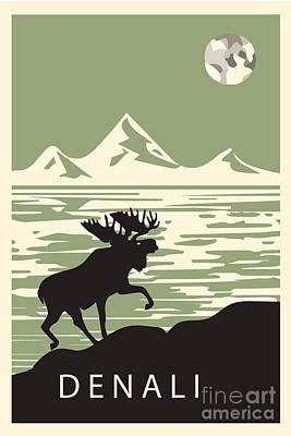 Elk Digital Art - Alaska Denali National Park Poster by Celestial Images