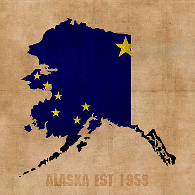 Alaska Mixed Media - Alaska State Flag Map Outline With Founding Date On Worn Parchment Background by Design Turnpike