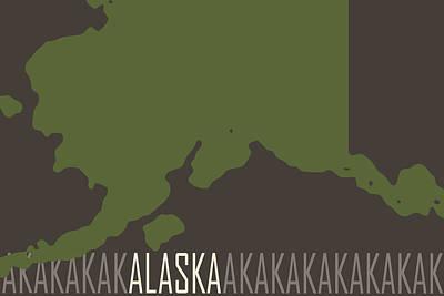 Color Block Digital Art - Alaska State Modern by Flo Karp