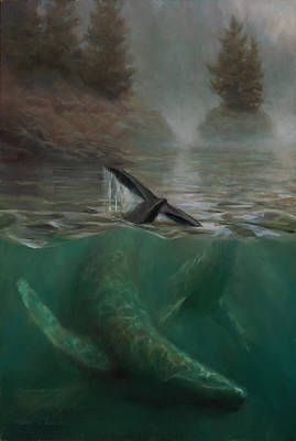 Under The Ocean Painting - Humpback Whales - Underwater Marine - Coastal Alaska Scenery by Karen Whitworth