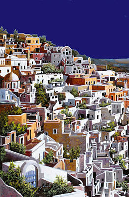 Greece Painting - alba a Santorini by Guido Borelli